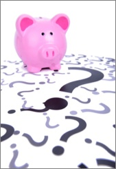 Piggy Bank with Question Marks